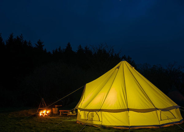 Traditional canvas bell tents