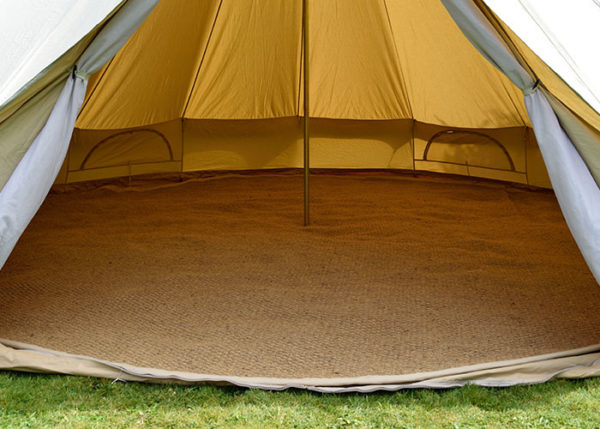 Traditional canvas bell tents and matching awnings