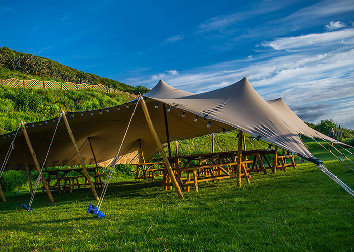 The Stretch Tent. Stretch tent hire in Cornwall. Alternative wedding marquee. Unique tent & Stretch Tent for hire Cornwall - Cool Canvas Tent Company