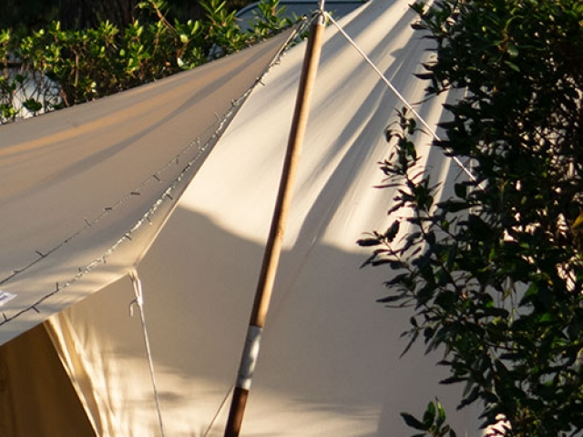Canvas awning. Bell tent awning